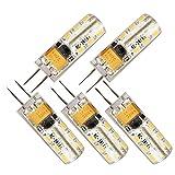 Elinkume 5 Pack 2W G4 24 SMD 3014 Led Energy Saving Bulbs Cool White(6000-7000K)AC/DC12V