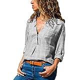 Subfamily® Mode Frauen V Neck Langarm Baumwolle Leinen T-Shirt lässige Bluse Tops V Ausschnitt Sommer und Herbst Beiläufig Hemd Lässig Bluse Fashion Oberteile Sweatshirt