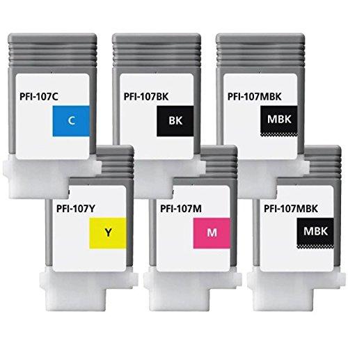Ipf Serie (PRINTMANIA Tintenpatrone/Druckpatronen ersatzt für Canon PFI-107, IPF 670, IPF 670 MFP L 24, 670 Series, IPF 680, IPF 680 Series, (2xMatt Black, Black, Cyan, Magenta, Yellow))