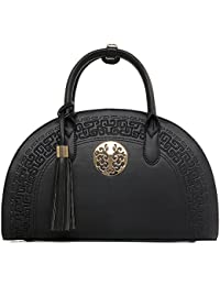 Qzunique Women'S Retro Chinese Style Empaistic Pu Leather Zipper Closure Shell Tassel Crossbody Shoulder Top Handle...