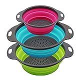 PHILWIN Juego de 3 coladores plegables de cocina, dos piezas de 4 cuartos y una pieza de 2 cuartos, perfecto para drenar pasta, verduras, frutas (verde, azul, morado)