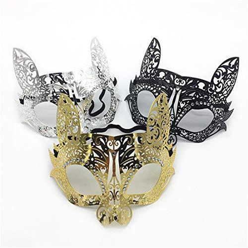 Frauen Venezianischen Maskerade Kostüm - VJUKUBCUTE Pack Von 3 Sexy Frauen Katze Vintage Maskerade Kostüm Masken Venezianischen Augenmaske-Halloween Karneval Party Maske Halloween Frauen Cosplay Mode