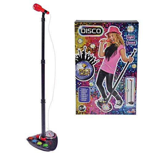 Unbekannt Elektronisches Standmikrofon für Kinder MP3 kompatibel mit coolem Disco Licht Effekt • Mikrofon Musik Spielzeug Musikinstrument Sound Anschluss