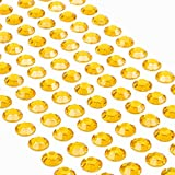 Movoja Gelbe Strasssteine - runde Glitzersteine 147 Stück 10 mm selbstklebend zum Verzieren und Basteln | Schmucksteine zum aufkleben | Steinchen Dekosteine Bastelsteine Gelb Gold
