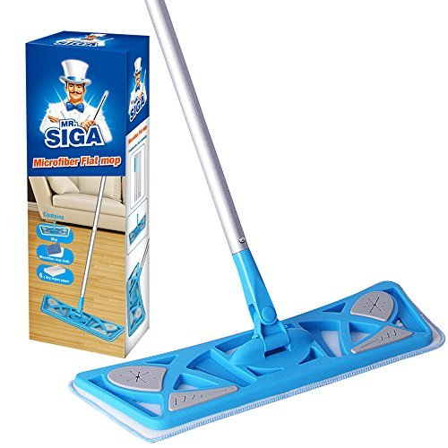 MR. SIGA Microfiber Flat Mop (Included 2 Microfiber Refills and 6 Dry Cloths) - Pad Size 43 x 21cm