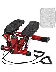 GOPLUS Stepper con Manubrio e Corda Elastico di Allenamento Movimento Rotante su e Giù con Display Multifunzione Regolabile, con Tappetino 120kg