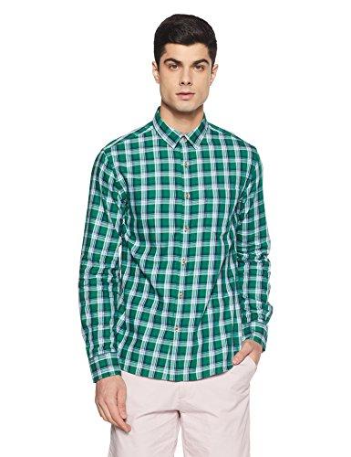Amazon Brand- Symbol Checkered Regular Fit Casual Shirt (SS18-SMCS-121_Piscine_Large)