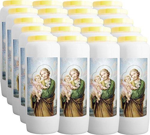 CHRIST-en-or : 20 Novenen Kerze, Der Heiliger Josef Beschützer der heiligen Familie - 100% pflanzlich - Brennt für 9 Tage (Lass Die Kirche Die Kirche Sein)