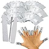 Vococal - Kit de Quitaesmaltes / 100 Piezas Envolturas de Papel de Aluminio con Empujador de Cutícula y 2 Piezas Palillo de Bruñido del Uñas/Herramientas de Limpieza para Arte de Uña