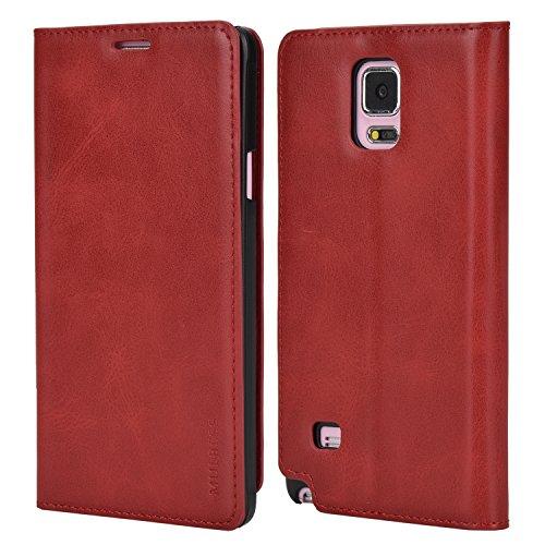 Faux-leder-wein (Mulbess Ledertasche im Ständer Book Case für Samsung Galaxy Note 4 Tasche Hülle Leder Etui,Wein Rot)