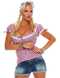 10611 Fashion4Young Dirndlbluse Bluse Trachtenbluse Dirndl Trachten Oktoberfest Trachtenkleid