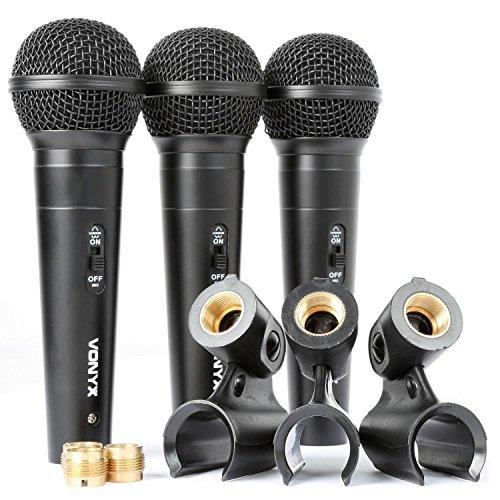 Vonyx VX1800S • Mikrofon Set • Gesangsmikrofone • Dynamische Mikrofone • für Sprache und DJ-Nutzung • 3 x Mikrofon + 3 x Mikrofonhalter • unidirektionale Nierencharakteristik • schwarz