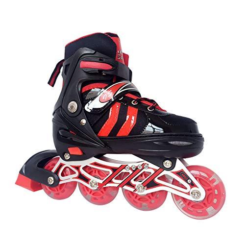 Kinder Erwachsene Inline Skates & Kinder Schlittschuh Roller Blades Mit Leucht PU Räder| Größe Verstellbar,Schwarz Rot,L