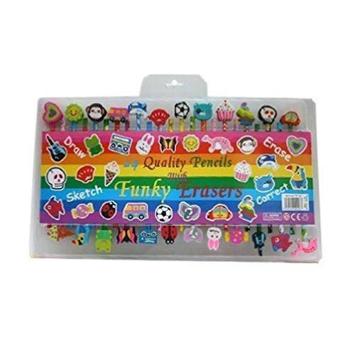 Kinder Buntstifte mit farbenfrohen Radiergummis 24Kinder Weihnachten Geschenk-Set