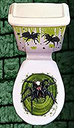 Halloween Toilet Seat Lid & Cistern Cover Scary Spiders Decoration