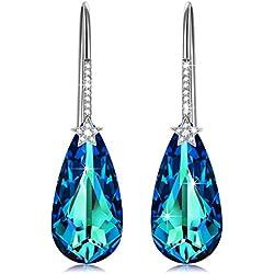 Pendientes Geométricos de Plata en Azul Electrico con Cristales Swarovski