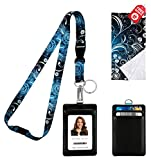 Vintage Floral Print Lanyard with PU Leather ID Badge Holder with 3 Card Pockets. Safety Breakaway Clip & Key Ring. Mini Note Card & Large Ultra Fine Microfiber Cleaning Cloth.