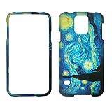 2D blau Design Samsung Galaxy S5/S 5I9600Schutzhülle Hard Case Snap On Cover Gummiert Touch Displayschutzfolie Blenden