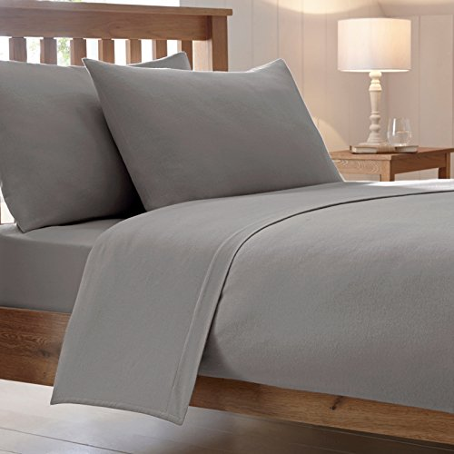 Cotton Works® LUXURY COMBED POLY COTTON BED FITTED SHEETS NON IRON EASY CARE PERCALE PLAIN POLYCOTTON SHEET BEDDING SINGLE, DOUBLE, KING or PILLOWCASES (Pillow Covers Sold Separately)