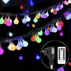 Lichterkette strombetrieben B-right 100 LED Globe Lichterkette, Lichterkette bunt, Innen- Außen Lichterkette glühbirne Fernbedienung,Weihnachtsbeleuchtung für Weihnachten Hochzeit Party Weihnachtsbaum