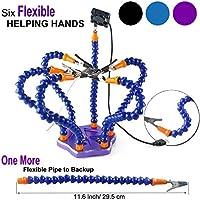 Ajustables Terceras Manos Reparación de Soldadura Herramienta de Aumento Múltiples ( 7 brazos que ayudan a las manos, clips giratorios de 360 grados, ventilador DC sin escobillas) de LITEB --- púrpura