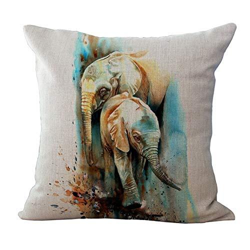 LXHDKDT Pintura de Tinta Cojines de Elefante Cubierta de Lino de algodón Funda de Almohada Decorativa para el hogar sofá Cama para el hogar 450 mm * 450 mm 03