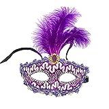 Xinwcanga Masquerade Máscara Pluma Halloween de Encaje Media Cara para Carnaval Fiesta de Disfraz (Morado, Talla única)