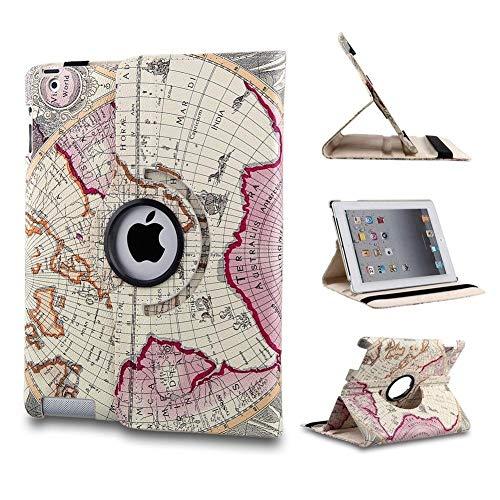 Revesun, custodia in pelle con cavalletto per Apple iPad Mini, rotazione di 360 gradi, con stampa di mappa geografica, colore viola
