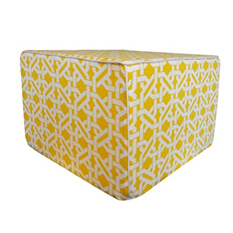 Jiti Istanbul Outdoor Square Polyester Ottoman, 22 by 22 by 15-Inch, Yellow