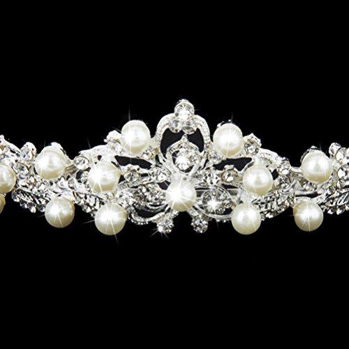 Pixnor Kristall Perle Braut Haarband Diadem Haarschmuck Silber