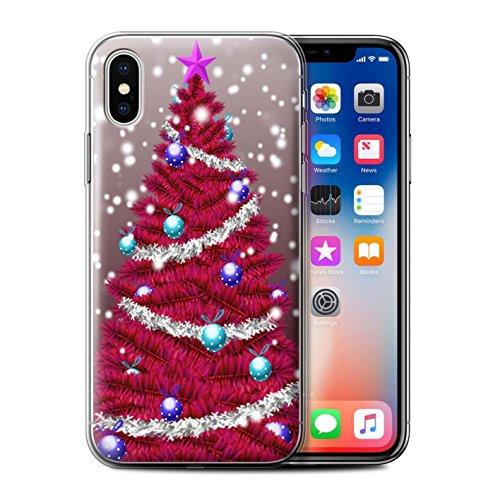 Stuff4 Gel TPU Hülle / Case für Apple iPhone X/10 / Lila Muster / Weihnachts Tannenbaum Kollektion Rot