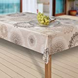 Wachstuch-Tischdecke Abwaschbar Garten-Tischdecke Wachstischdecke PVC Plastik-Tischdecken Outdoor Eckig Meterware Wetterfest Wasserabweisend Abwischbar G03, Muster:Mandala beige-braun, Größe:80x80 cm