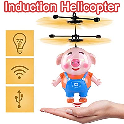 Y56(TM) Flying Pig Drone Mini RC Infrared Induction Helicopter Aircraft LED Light Disco Shining Indoor and Outdoor Games Toys for Christmas Kids Teenagers Adults Gifts Party Favors