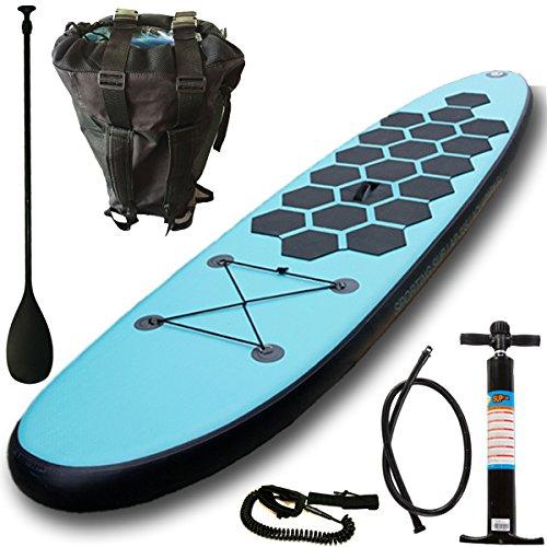 AQUAPARX SUP 334 x 76 x 14 cm Inflatable Isup Aufblasbar Alu-Paddel Marin Rucksack Pumpe Stand Up Paddle Board Set Aqua , türkis-blau/Schwarz