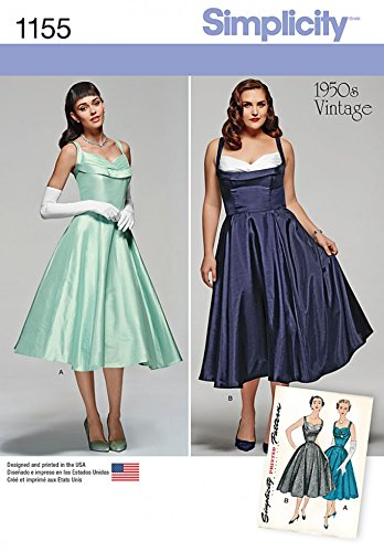 Simplicity Damen Schnittmuster 115550er Jahre Vintage Stil Glamour Kleider