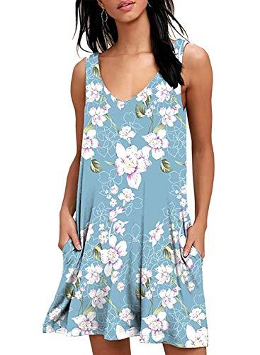 Yidarton Sommerkleider Damen Casual Ärmellos Rundhals Strandkleider Blumen Bedrucktes Trägerkleid Kurz Kleider mit Taschen (Z-Hellblau, m) - Casual Damen Tasche