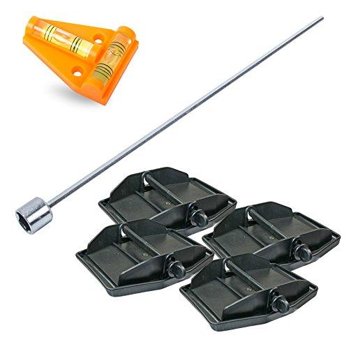 Hypercamp Maxi Foot Stützplatten Set - 4 Stück - zur Sicherung der Kurbelstütze inkl Akkuschrauberaufsatz und Kreuz Wasserwaage für Wohnmobil oder Wohnwagen