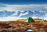 YongFoto 2,2x1,5m poliestere Tenda da campeggio fondale Ushba Mheyer Picco di montagna innevato Foto di sfondo per l'avventura all'aperto Ritratto personale fotografia Puntelli di Studio