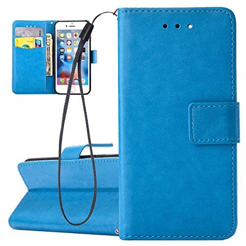 Custodia per Apple iPhone 6, ISAKEN iPhone 6S Flip Cover, 4.7 inch Custodia con Strap, Elegante Bookstyle Contrasto Collare PU Pelle Case Cover Protettiva Flip Portafoglio Custodia Protezione Caso con Blu