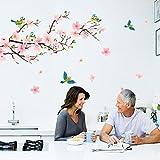 wandaufkleber wandtattoos Ronamick Zimmer Peach Blossom Blumen Schmetterling Wandaufkleber Vinyl Kunst Decals Dekor Wandbild Wandtattoo Wandaufkleber Sticker Wanddeko (Rosa)