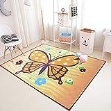 DAMENGXIANG Nordic Cartoon Schmetterling Druck Teppich Wohnzimmer Kinderzimmer Schlafzimmer Rutschfeste Bodenmatte Wohnkultur Fuß Pad 80 × 160 cm