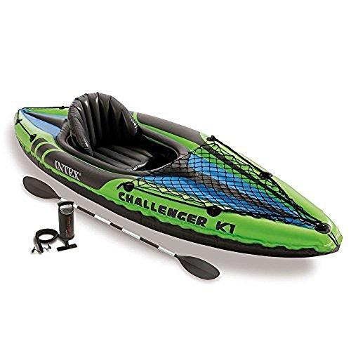 Intex Schlauchboot Aufblasbares Kajak Boot Challenger K1 Phthalates Free Inkl. 84 Paddel und Luftpumpe, 274 X 76 X 33 cm, 68305NP