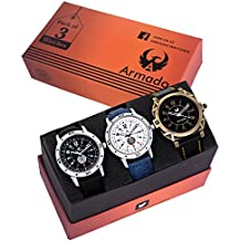 Armado Combo of 3 analogue Black White dial Men Watch -AR-8010