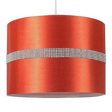 MiniSun Abat-Jour pour Suspension 'ROLLER' Design Contemporain - Tambour Finition en Tissu Orange