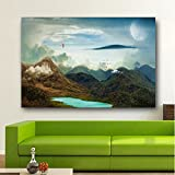 Mountains Landscape Moon Wallpaper Wall Decor Poster No Framed Large Painting On Canvas Wall Art Picture For Home Decoration Wall Decor Poster