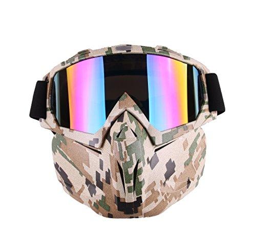 Spohife Gafas de motocross antiniebla  resistentes al viento con máscara desmontable , camuflaje