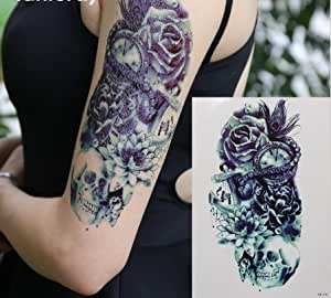 m nner arm tattoo schwarz fake tattoo totenkopf mit lotus rosen hb578 beauty. Black Bedroom Furniture Sets. Home Design Ideas