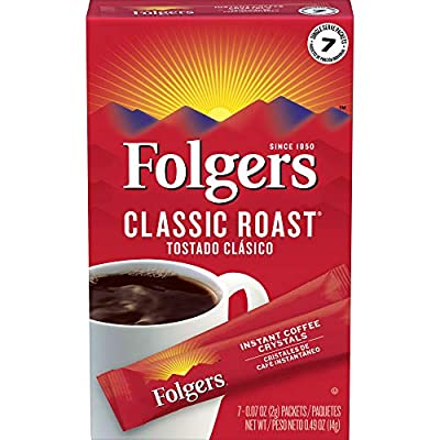 Folgers Classic Roast Instant Coffee Crystals, 7-Count (Pack of 12), Garden, Lawn, Maintenance