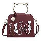 Onfashion Damen Frauen Rot Katze Ohr Handtaschen PU Leder Metall Griff Mädchen Crossbody Taschen Quaste Umhängetasche