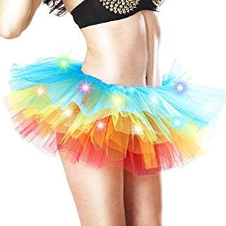 ALCYONEUS Women Rainbow LED Light Up Tutu Skirt for Halloween Party Stage Dance Night Club size M (Colorful Light)